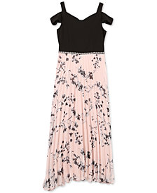 Speechless Big Girls Floral-Print Pleated Maxi Dress