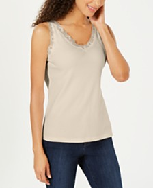 Karen Scott Petite Cotton Lace-Trim Top, Created for Macy's