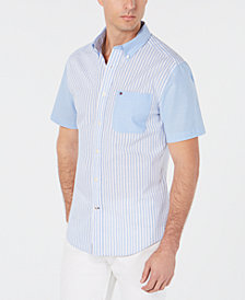 Tommy Hilfiger Men's Wainwright Custom-Fit Colorblocked Stripe Shirt, Created for Macy's