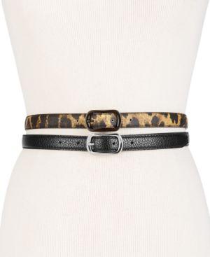 Leopard-Print 2-For-1 Skinny Belts in Natural Leopard/Black