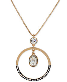 "DKNY Two-Tone Crystal 46"" Pendant Necklace"