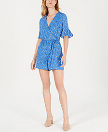 Maison Jules Printed Surplice Romper, Created for Macy's