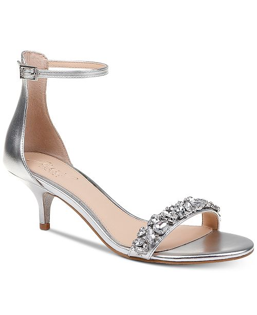 Jewel Badgley Mischka Dash Kitten-Heel Evening Sandals   Reviews ...