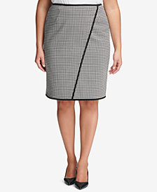 Calvin Klein Plus Size Houndstooth Pencil Skirt