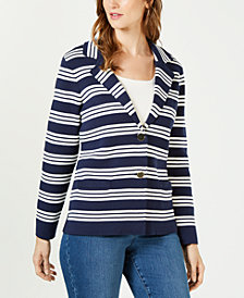 Charter Club Striped Cotton Sweater Blazer, Created for Macy's