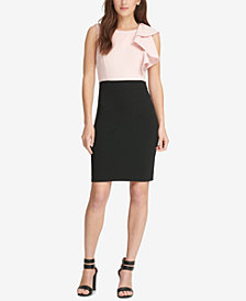 DKNY Ruffled Colorblocked Sheath Dress, Created for Macy's