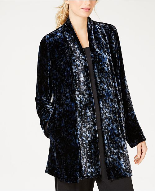 9e7b5ab12ee2d Eileen Fisher Textured Velvet Shawl-Collar Jacket   Reviews ...