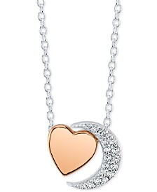 "Unwritten Crystal Moon & Heart Pendant Necklace in Sterling Silver & Rose Gold-Flash, 16"" + 2"" extender"