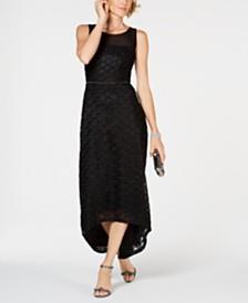 Connected Petite Illusion-Neckline High-Low Dress