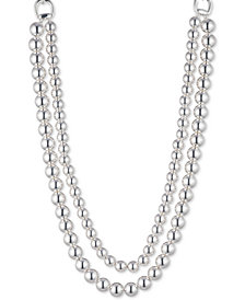 Lauren Ralph Lauren Silver-Tone Imitation Pearl Double-Row Collar Necklace