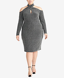 RACHEL Rachel Roy Plus Size Sparkle-Knit Halter Dress