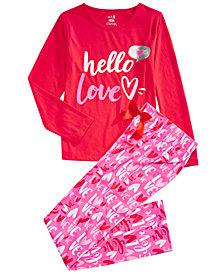 Max & Olivia Big Girls 2-Pc. Hello Love Pajama Set