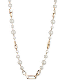 "Lauren Ralph Lauren Gold-Tone Link & Imitation Pearl Collar Necklace, 17"" + 3"" extender"