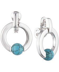 Lauren Ralph Lauren Silver-Tone Stone Bead Clip-On Drop Hoop Earrings