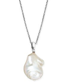 "Baroque Cultured Freshwater Pearl (12mm) 18"" Pendant Necklace in Sterling Silver"