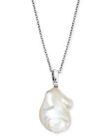 """Baroque Cultured Freshwater Pearl (12mm) 18"""" Pendant Necklace in Sterling Silver"""