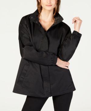 Organic Cotton-Nylon Utility Jacket With Hidden Hood in Black