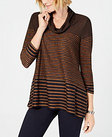 Petite Striped Cowl-Neck Sweater