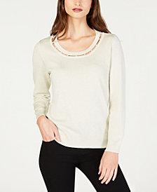 NY Collection Petite Metallic-Threaded Neckline-Cutout Sweater