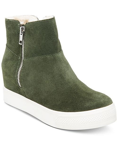 eb979581ef7 Steve Madden Wanda Faux-Fur Wedge Sneakers & Reviews - Athletic ...