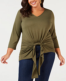 NY Collection Plus Size Gathered-Front Top