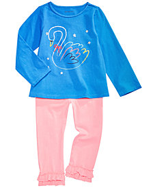 First Impressions Baby Girls Swan Graphic T-Shirt & Ruffled Leggings Separates, Created for Macy's
