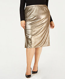 NY Collection Plus Size Metallic Pleated Midi Skirt