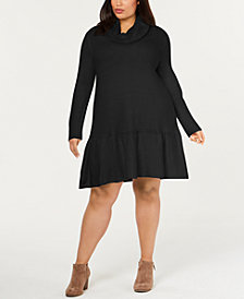 NY Collection Plus Size Cowlneck Dropped-Waist Dress