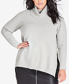 City Chic Trendy Plus Size Roll-Neck Sweater