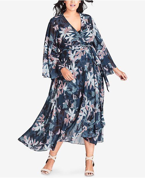 1c901ff24d5 City Chic Trendy Plus Size Floral-Print Wrap Dress   Reviews ...