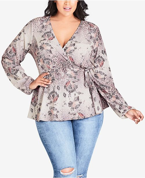 8d651ac4520e06 City Chic Trendy Plus Size Printed Wrap Top   Reviews - Tops - Plus ...