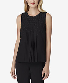Tahari ASL Floral-Appliqué Pleated Blouse