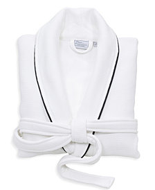 Linum Home Waffle Terry Bathrobe with Satin Piped Trim