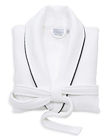 Linum Home Waffle Terry Bath Robe with Satin Piped Trim