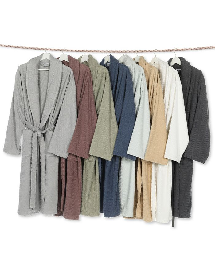 Linum Home - Unisex Herringbone Weave Bath Robe