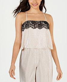 LEYDEN Lace-Trim Crisscross Camisole