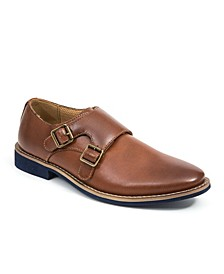 Little and Big Boys Harry Dress Comfort Fashion Hook and Loop Easy Enclosure Double Monk strap