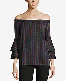 ECI Metallic Off-The-Shoulder Top