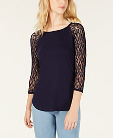 Crave Fame Juniors' Lace-Sleeved Baseball T-Shirt