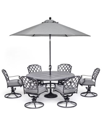 """Grove Hill II Outdoor Cast Aluminum 7-Pc. Dining Set (61"""" Round Table & 6 Swivel Chairs) With Sunbrella® Cushions, Created for Macy's"""