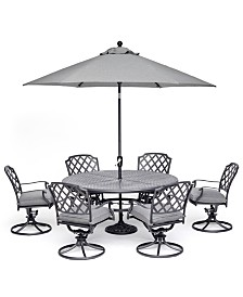 "Grove Hill II Outdoor Cast Aluminum 7-Pc. Dining Set (61"" Round Table & 6 Swivel Chairs) With Sunbrella® Cushions, Created For Macy's"