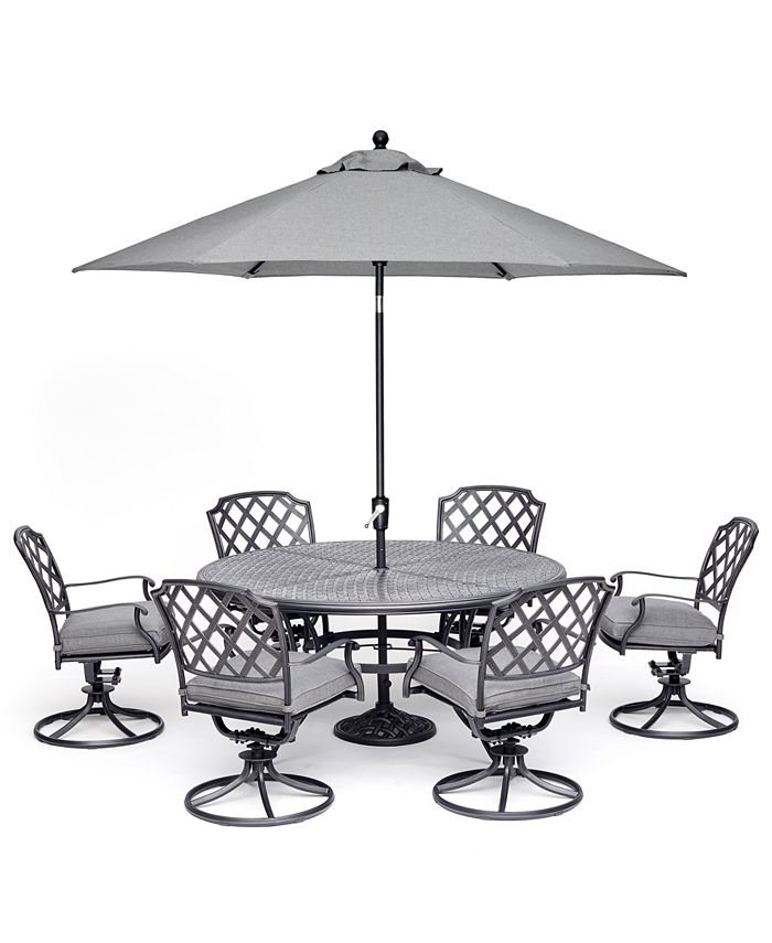 """Furniture - Grove Hill II Outdoor Aluminum 7-Pc. Dining Set (60"""" Round Table & 6 Swivel Chairs) With Sunbrella® Cushions"""