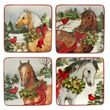 Certified International Christmas on the Farm 4-Pc. Canape Plate asst.