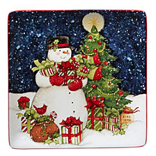 Certified International Starry Night Snowman Square Platter