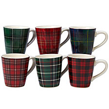 Certified International Christmas Plaid 6-Pc. Mug asst.