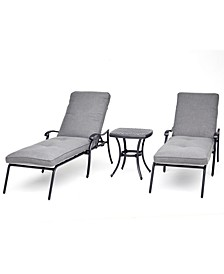 Vintage II Outdoor Cast Aluminum 3-Pc. Chaise Set (2 Chaise Lounges & 1 End Table) With Sunbrella® Cushions, Created for Macy's