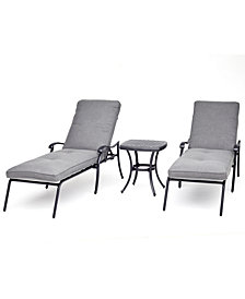 Grove Hill II Outdoor Cast Aluminum 3-Pc. Chaise Set (2 Chaises & 1 End Table) With Sunbrella® Cushions, Created For Macy's