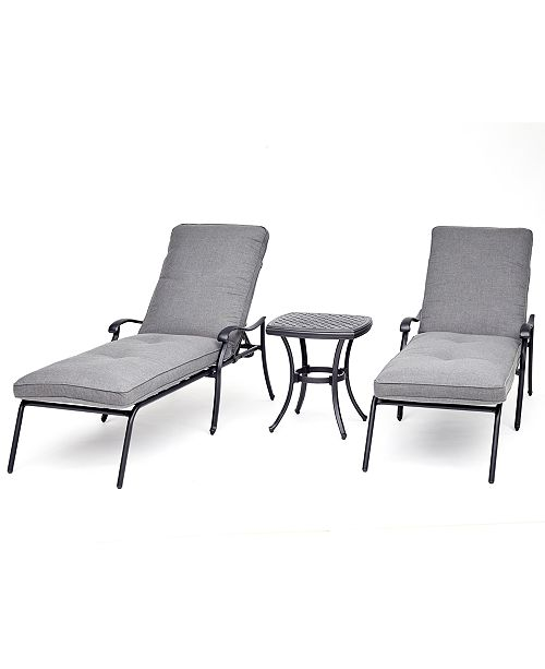 Furniture Vintage II Outdoor Cast Aluminum 3-Pc. Chaise Set (2 Chaise Lounges & 1 End Table) With Sunbrella® Cushions, Created For Macy's
