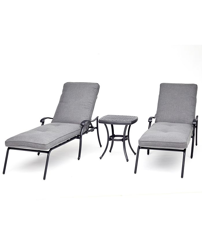 Furniture - Vintage II Outdoor Cast Aluminum 3-Pc. Chaise Set (2 Chaise Lounges & 1 End Table) With Sunbrella® Cushions, Created For Macy's