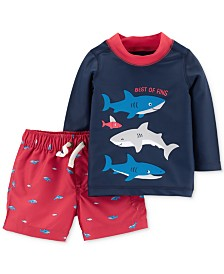 Carter's Baby Boys 2-Pc. Shark Rash Guard Swim Set